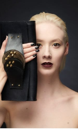 Black Leather Clutch With Gold Brass Fittings By Renush