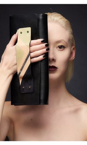 Black Leather Clutch With Art Deco Handle By Renush