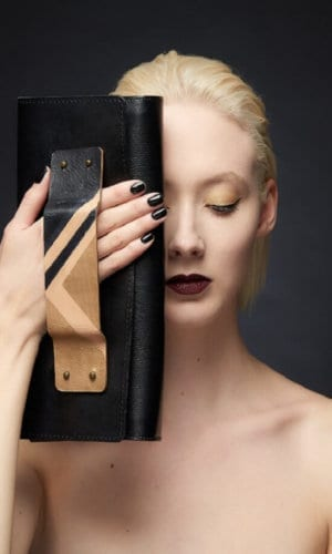 Gold Leather Clutch With Art Deco Handle By Renush