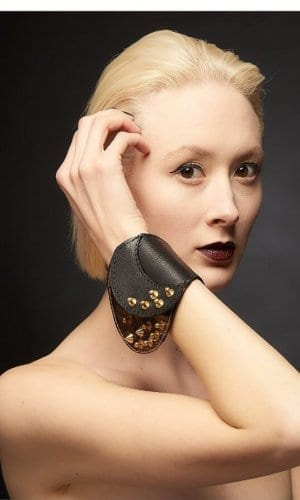 Black Leather Cuff Bracelet With Gold Design By Renush