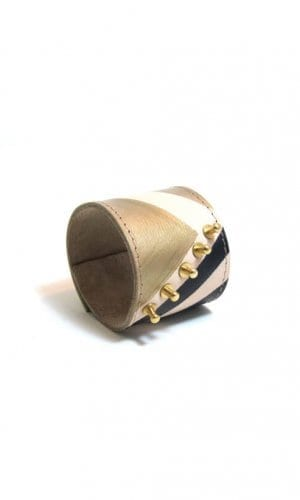 Beige And Gold Leather Cuff Bracelet By Renush