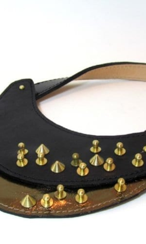 Black Leather Necklace With Stud Detail By Renush
