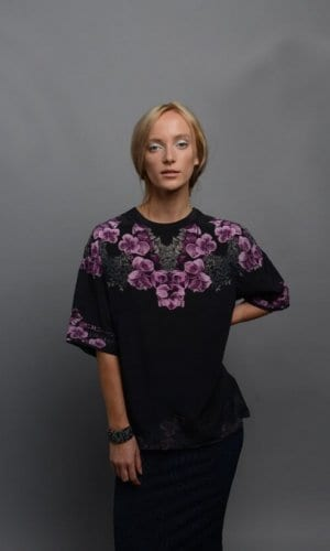 Mulberry Silk Oversized T-Shirt With Digital Print Hand Drawn Design In Black Purple and Pink From Guinevere London