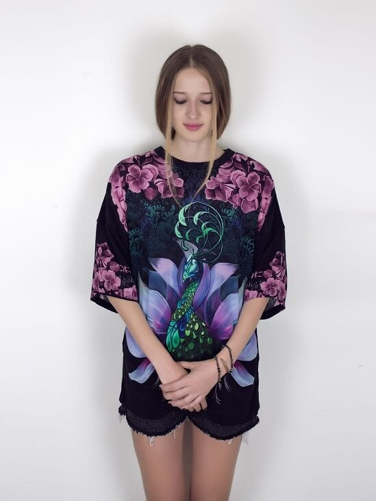 Mulberry Silk Oversized T-Shirt With Digital Peacock Print Hand Drawn Design in Black Green and Pink By Guinevere Launcelot