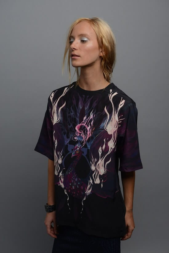 Oversized Mulberry Silk Digital Print T-Shirt With Incubus Of Inis Design By Guinevere Launcelot