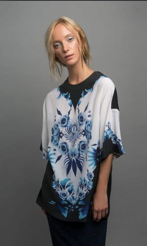 Mulberry Silk Black Blue And White Oversized Blouse By Guinevere Launcelot