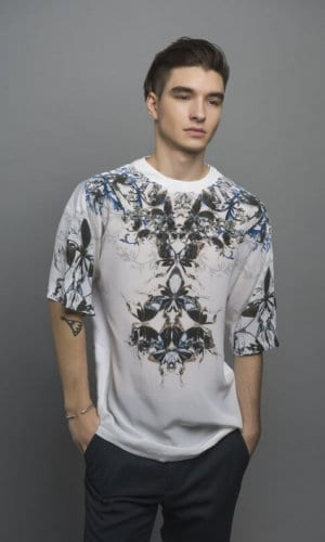 Digital Print Mulberry Silk T-Shirt With Black And Blue Design By Guinevere Launcelot