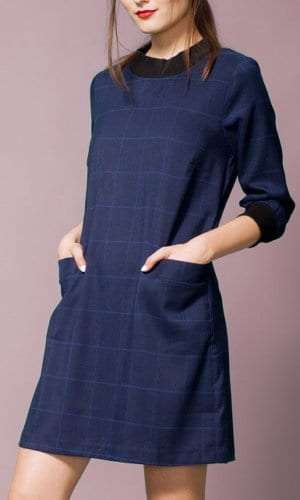 Blue Turtle-Neck Dress by Alice's Pig