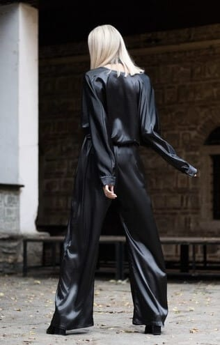 Black Satin Jumpsuit by Bastet Noir