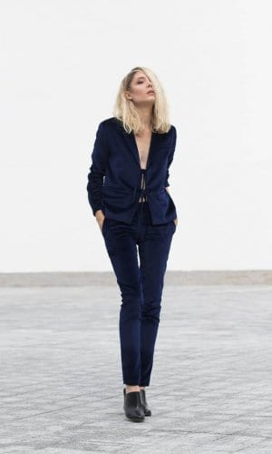 Royal Blue Velvet Trousers by Bastet Noir