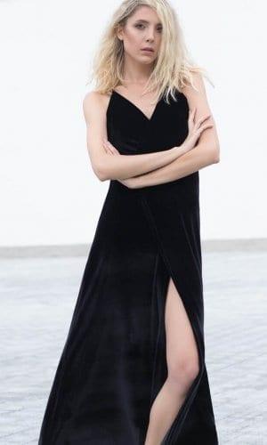 Bareback Velvet Maxi Dress by Bastet Noir