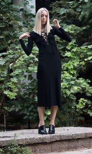 Cotton Midi Dress by Bastet Noir