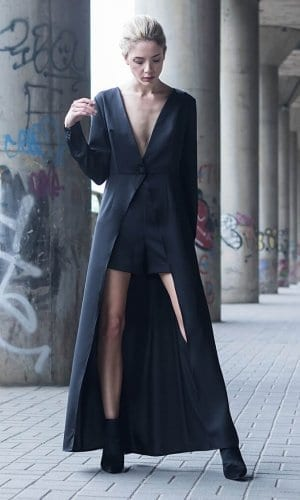 Black Maxi Shirt Dress by Bastet Noir
