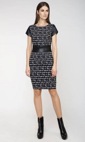 Conquista Black and White MIidi Winter Dress
