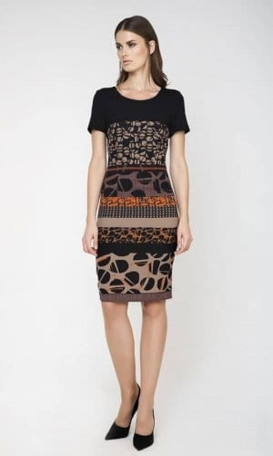 Conquest Short Sleeve Midi Print Dress