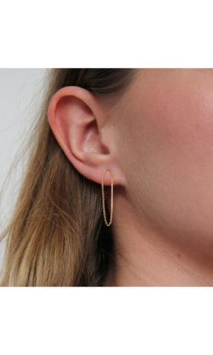 Gold Arc And Chain Long Earrings By Irena Chmura