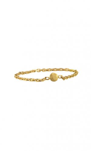 Gold Ring With Chain And Dot Detail By Irena Chmura