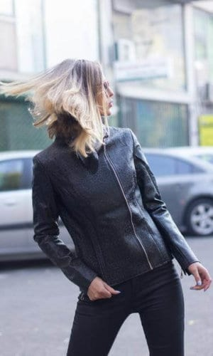 Black Leather Jacket With Side Zip
