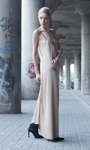 Beige Strappy Maxi Dress By Bastet Noir