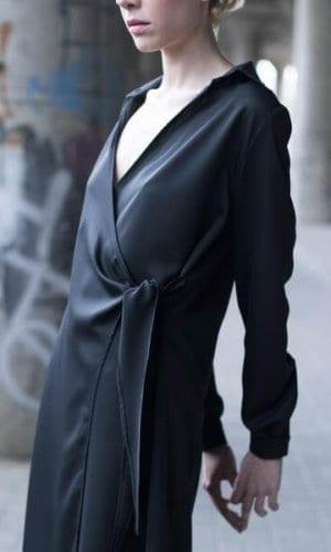 Black Dress With Twist Side Detail By Bastet Noir