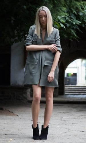 Khaki Military Jacket With Pocket Detail By Bastet Noir