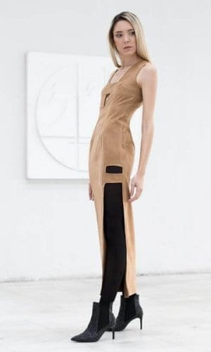 Cut Out Suede Maxi Dress By Bastet Noir