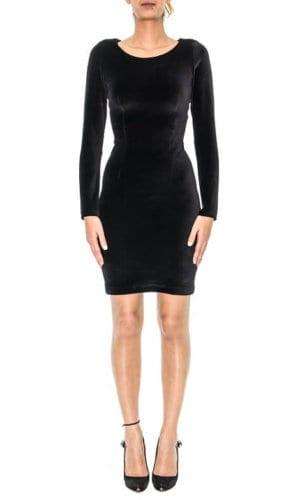 Velvet Black Long Sleeve Midi Dress By Stefani Remona