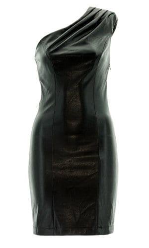 Black Faux Leather One Shoulder Mini Dress By Stefani Remona