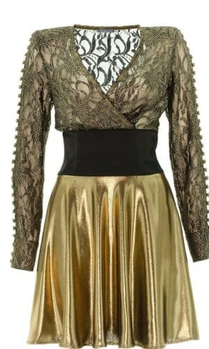 Gold Skater Dress With Black Lace Detail By Stefanie Remona