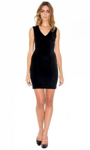 Black Velvet Mini Dress By Stefanie Remona
