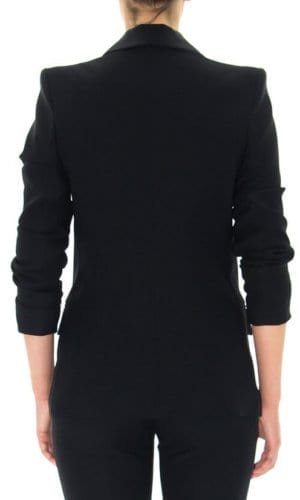 Black Satin Tuxedo Jacket By Stefanie Remona