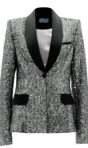 Silver Sequin Tuxedo Jacket By Stefanie Remona