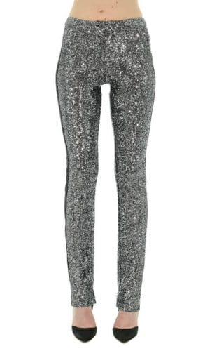 Silver Sequin Tuxedo Trousers By Stefanie Remona