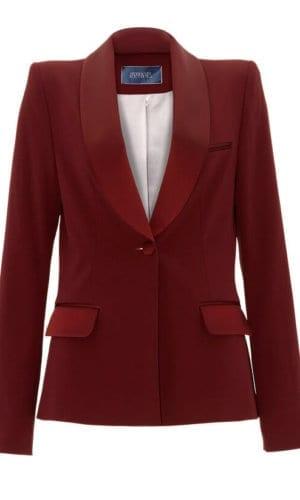Burgundy Tuxedo Jacket By Stefanie Remona