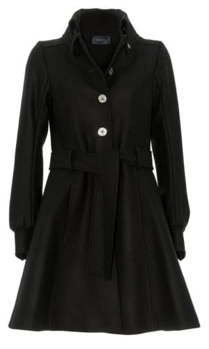 Black Flare Pea Coat By Stefanie Remona