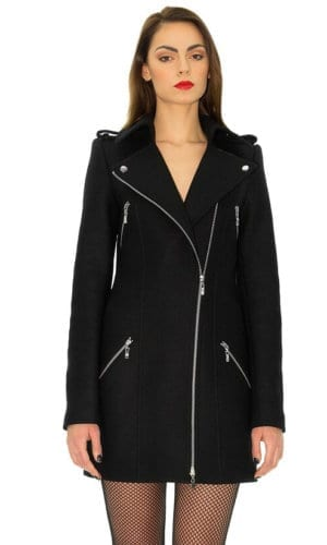 Black Biker Style Wool Coat By Stefanie Remona
