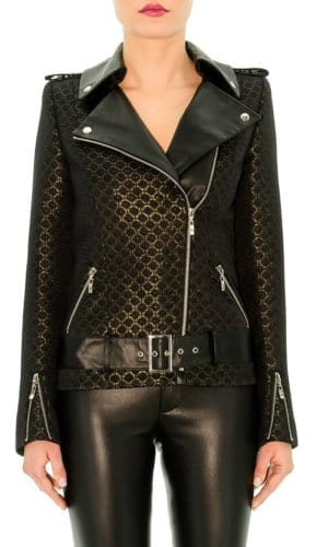 Gold And Black Leather Biker Jacket By Stefanie Remona