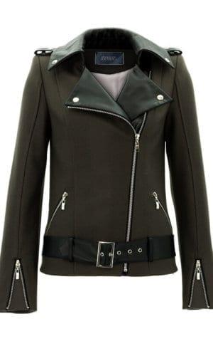 Khaki Cashmere And Leather Biker Jacket