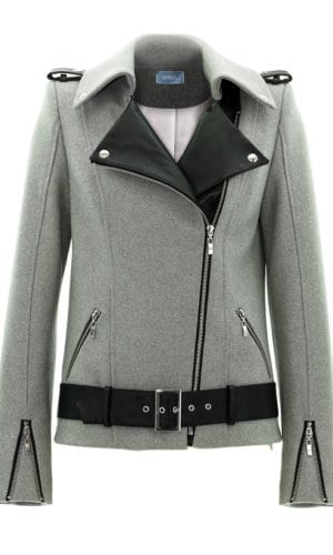 Grey Cashmere And Leather Biker Jacket
