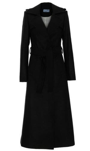 Black Winter Coat With Belt By Stefanie Remona