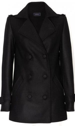 Black Buttoned Pea Coat By Stefanie Remona