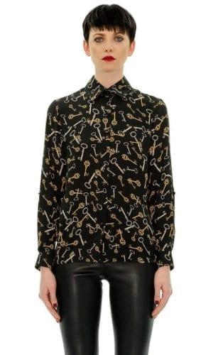 Black Key Shirt With Collar By Stefanie Renoma