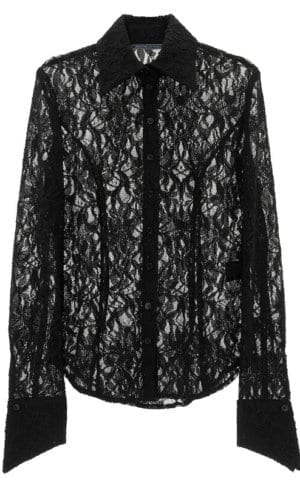 Black Shirt With Sheer Lace Detail And Black Panels By Stefanie Renoma