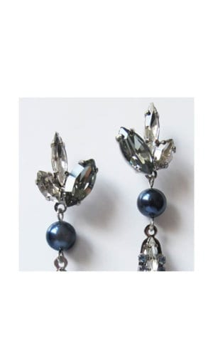 Blue Pearl Crystal Drop Moon Earrings By Heiter Cotuture