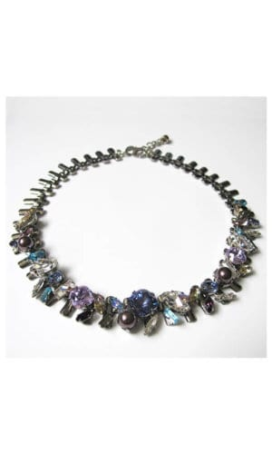 Multicolour Crystal Stone Collar Necklace By Heiter Cotuture