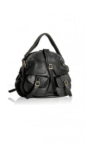 Black Leather Helmet Satchel Bag By Lebulga