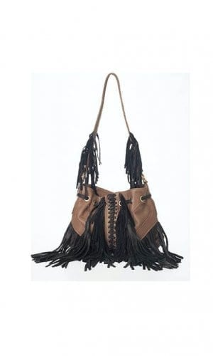 Black and Brown Infinity Contrast Tassel Bag By Lebulga