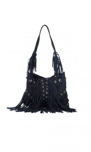 Black Boho Bucket Tassel Bag By Lebulga
