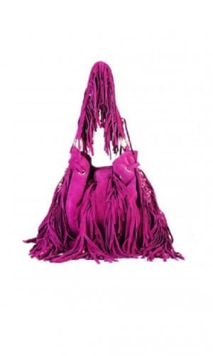 Fuscia Boho Bucket Tassel Bag By Lebulga
