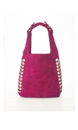Pink Suede Hobo Bucket Bag With Eyelet Detail By Lebulga